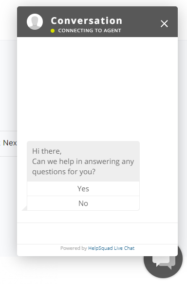 image of support chat window